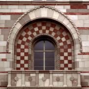 Brick Facade with Checkerboard