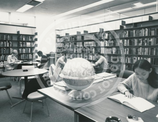 Students Studying in Research Library (c. 1980s)